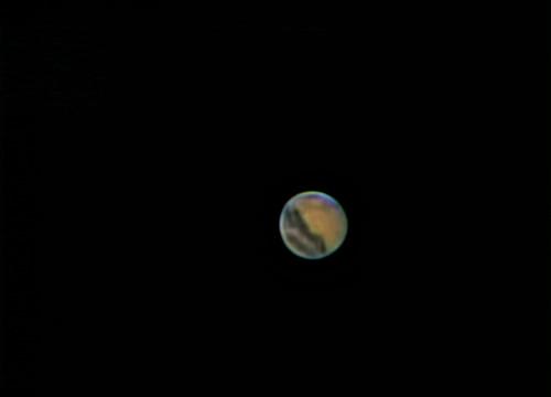 Mars Mynd tekin með vefmyndavél 600 myndir af 1800 staflaðar saman í eina mynd.